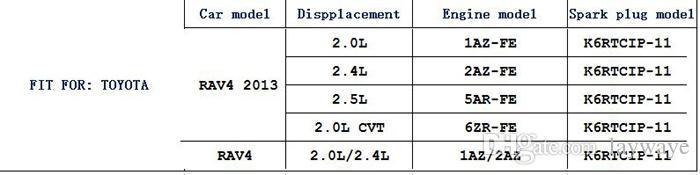 Iridium platine bougie Bougies de voiture pour toyota camry RAV4 rav 4 vios 2.0l 2.4l 1.5l moteur Allumage