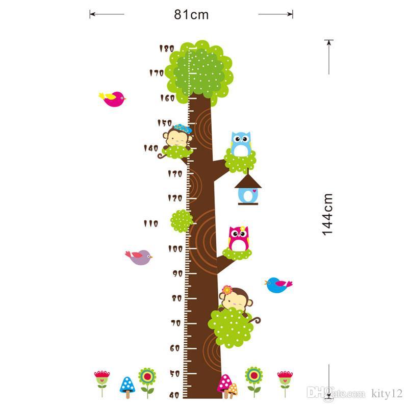 Горячей продажи Совы обезьяна птица цветок дерево диаграмма роста стены стикеры искусство украшения дома животные мультфильм дети наклейка для стен