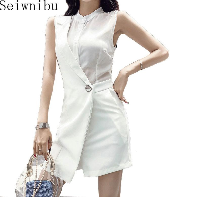 d981d664411 2018 Summer New Fashion Women Shorts Jumpsuit Solid Playsuits Chiffon  Splicing Stand Collar Elegant Sleeveless Female Online with  58.21 Piece on  ...