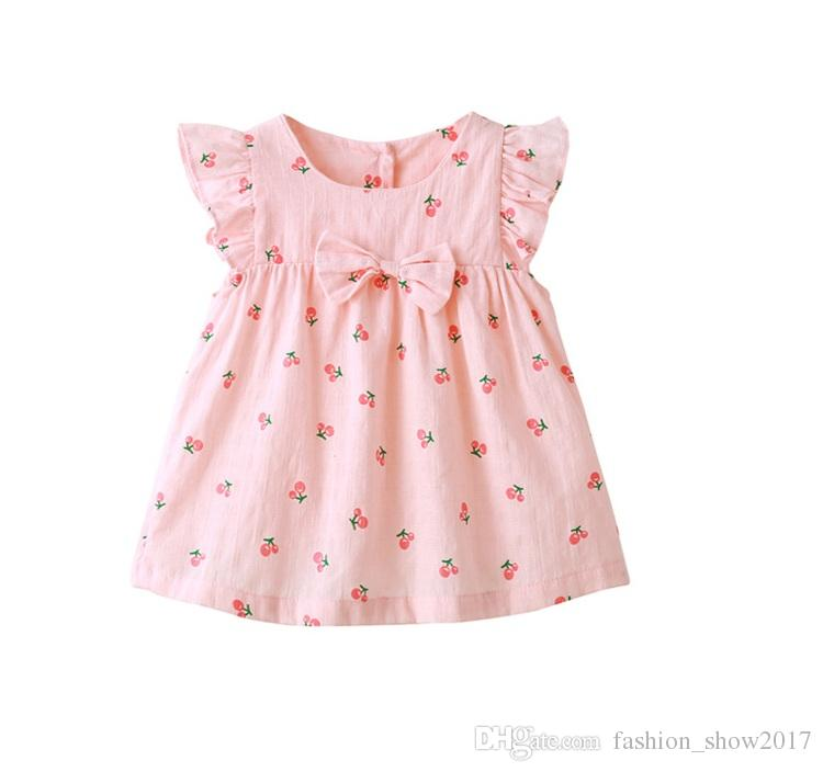 Summer Baby Clothing Cute Bow Infant Girl Cherry Print Dresses Children Kids Clothes Set includes Dresses + Underpants+Head Band