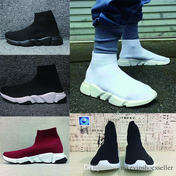 Acheter 2018 Designer Speed trainer Bottes Chaussettes Stretch Knit High  Trainer Chaussures Pas Cher Sneaker Noir Blanc Femme Homme Couples  Chaussures ... bc7cf4a6fae3
