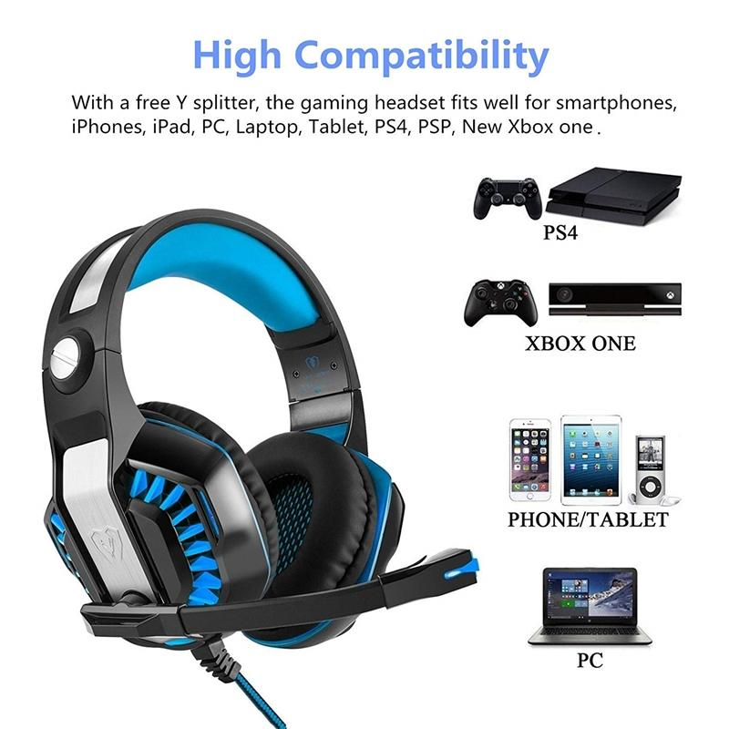 New Stereo LED Gaming Headset Over Ear Headphone with Microphone 3 5mm Jack  Noise Canceling Earphone for PS4 Xbox One PC Smartphone Tablet