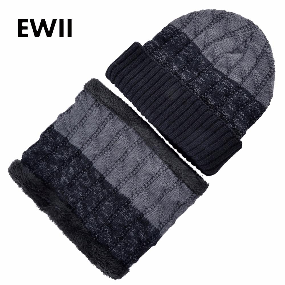 Fashion knit beanie hat scarf skullies beanies for men winter caps women knitted wool hats men warm cap gorros inverno