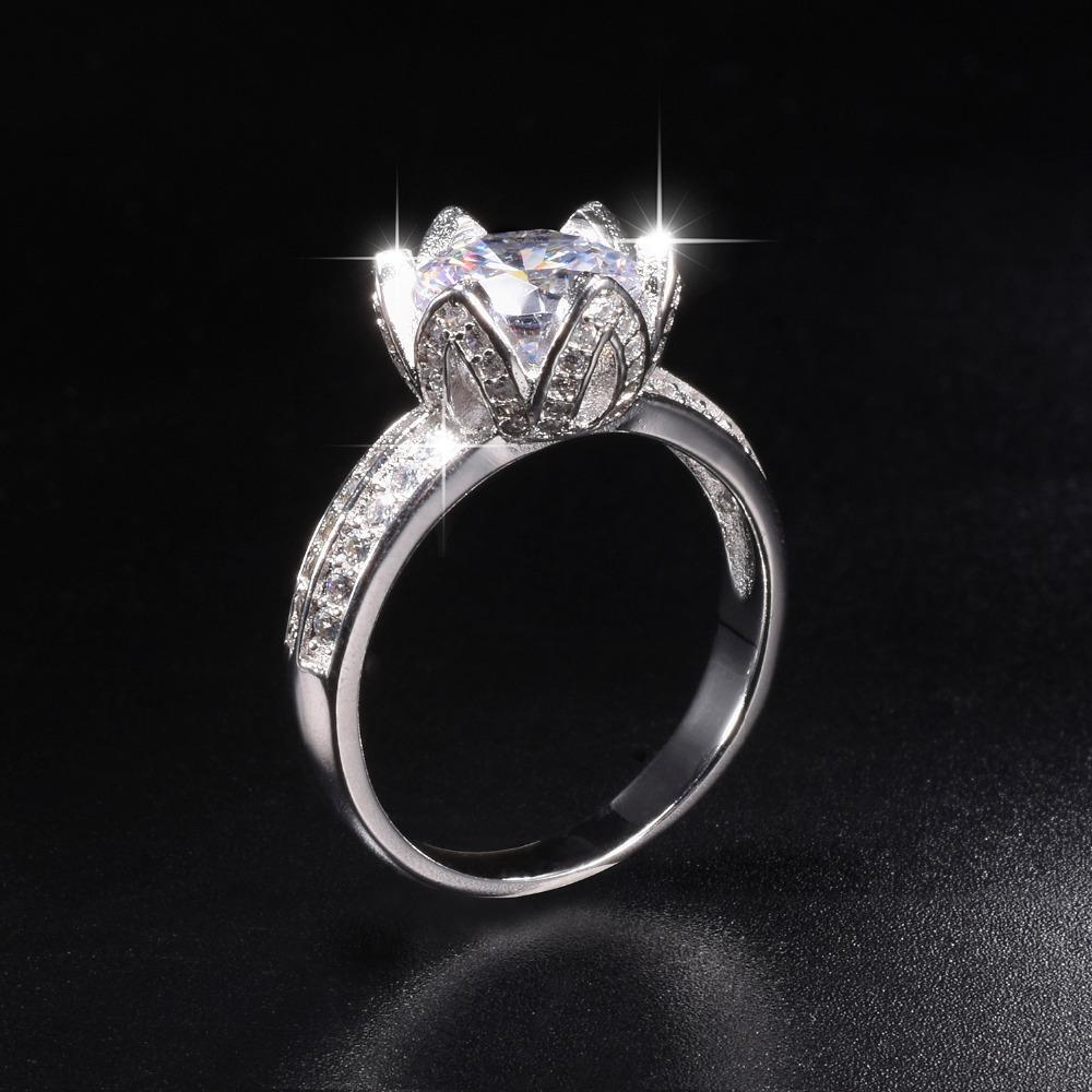 2019 Promotion 8 Real Solid 100 925 Silver Lotus Flower Rings