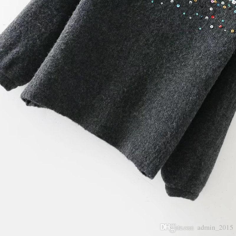 Femmes hiver pull haute rue col rond Tops coloré paillettes couleur unie courte mode femmes pulls et pull-overs Top
