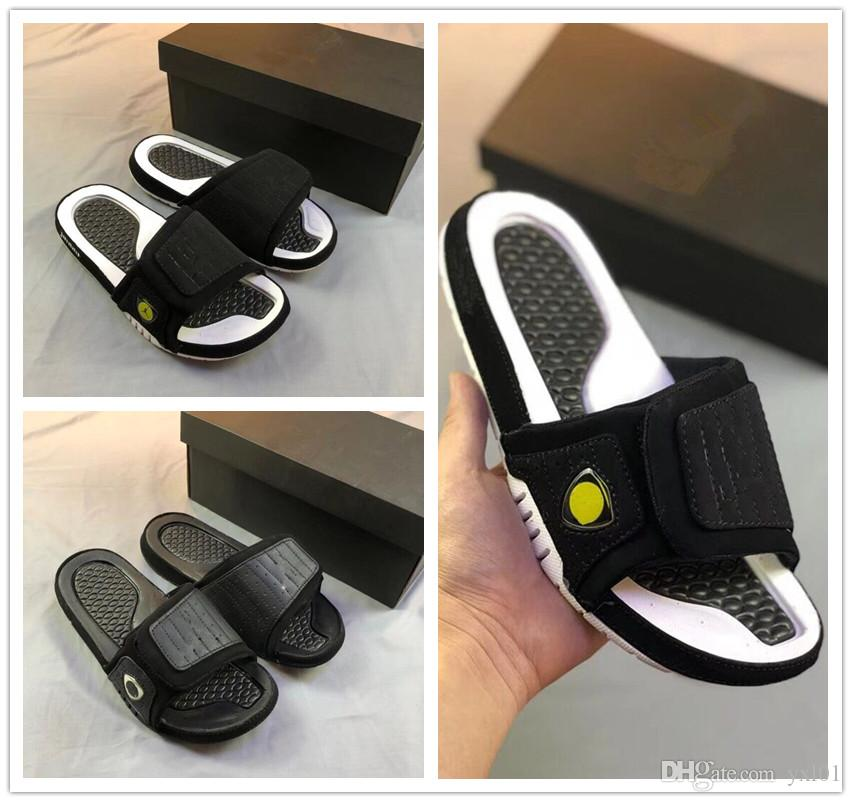0df3d70b08d090 2018 New Arrival Hydro 14 XIII Sandals Air Sports Slippers 14s Black White  Yellow Slides Shoes Outdoor Zapatillas Casual Men Slipper US 7 13 Brown  Boots ...