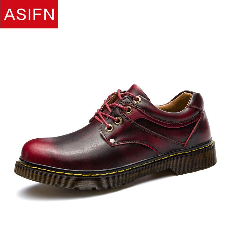 c20f3bc592f36 Wholesale Casual Men Leather Shoes Mens Lace Up Autumn And Winter Oxfords  Male Leather Round Toe Vintage Italian Flats Sapato High Top Shoes Cheap  Shoes For ...