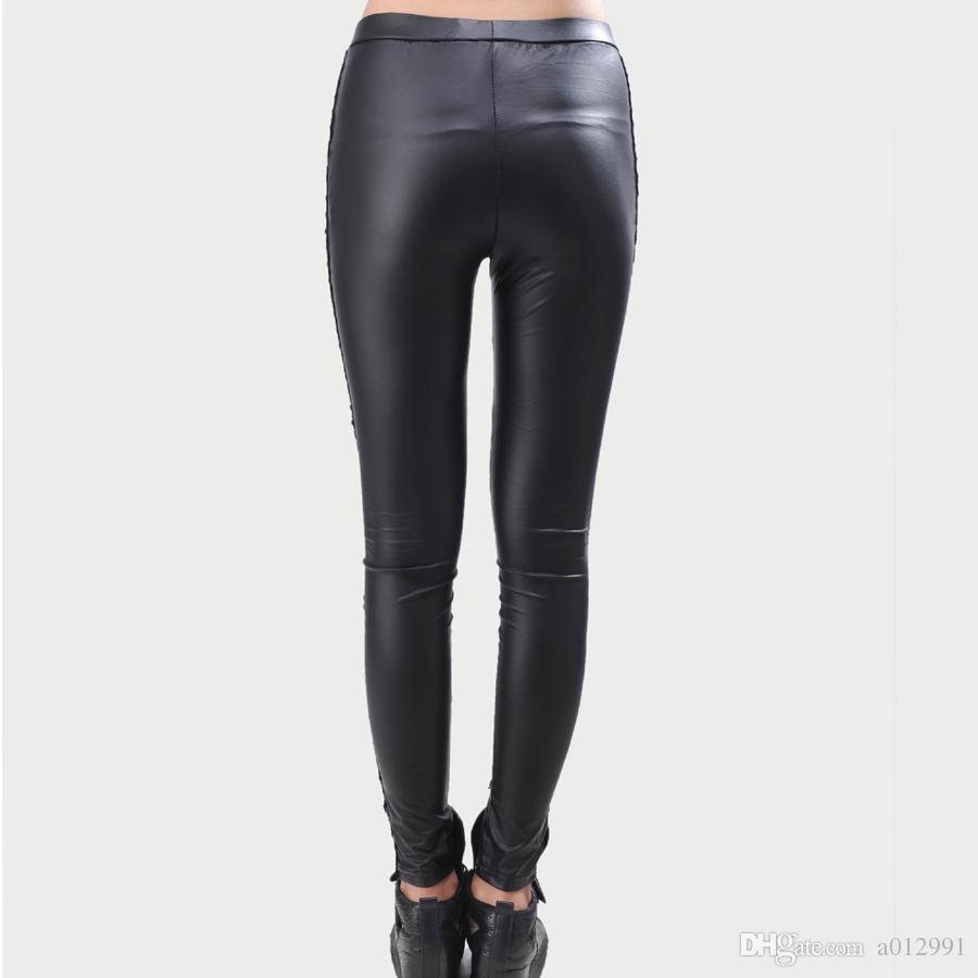 High Quality wholesale Punk Black faux leather gothic lace Legging women bandage lace up leggings cheap HOT pants trousers