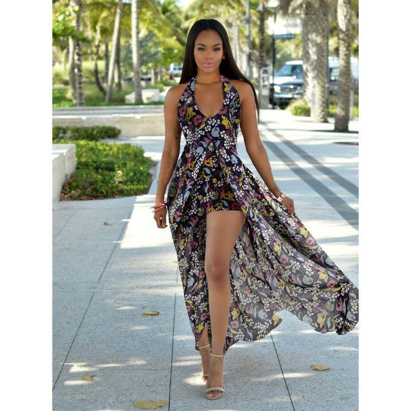 7bf294176b 2018 New Floral Print Halter Chiffon Long Dress Women Backless Split Maxi Dresses  Sexy Beach Summer Holiday Sleeveless Dress Vestidos Femme Fashion Dress ...