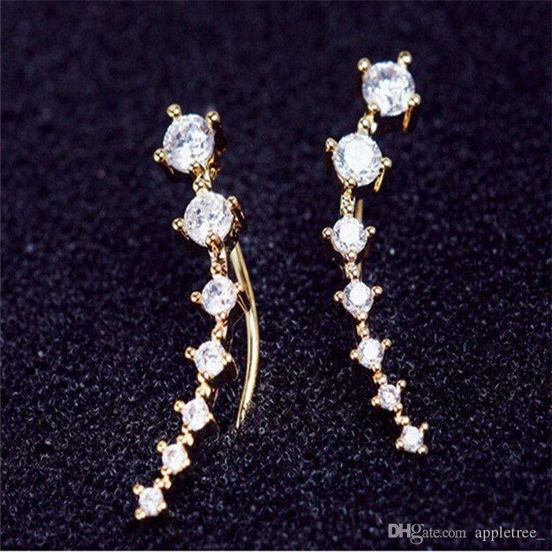 Luxus CZ Diamant Clip auf Manschette Ohrringe Weiß Rose Gold Plated Hook Stud Designer Ohrringe Schmuck für Frauen Ohrringe Großhandel 2018