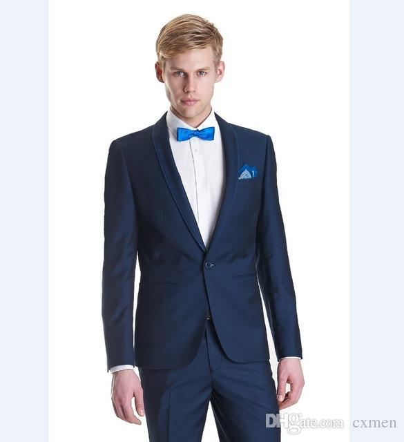 Costom Tuxedos Men Suits Wedding Suits for Men 2018 Navy Blue Blazer Black Lapel Groomsmen Prom Summer Beach Best Men Jacket+Pants