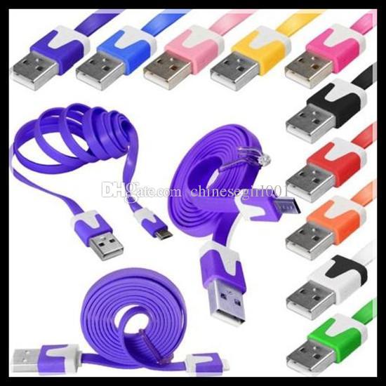 1M V8 fideos de datos planos de sincronización de carga Micro USB cables de carga Cargador de línea de cable para Samsung Note 4 S6 S4 3 Nota 4