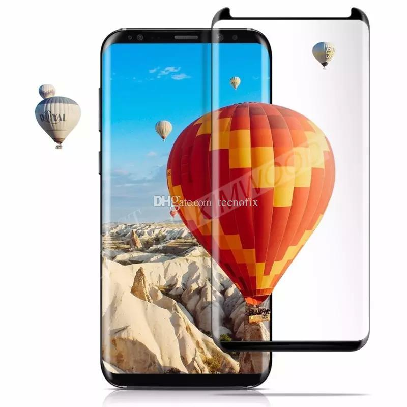 For Samsung Galaxy S9 Plus S8 Note 8 Note8 S7 S6 Edge Plus Case Friendly Full Cover 3D Curved Tempered Glass Screen Protector