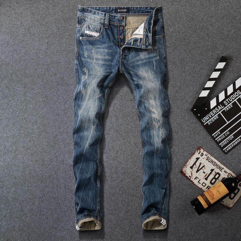 Großhandel 2018 Mode Vintage Herren Jeans Farbe Blau 100% Baumwolle Slim Fit  Zerrissene Jeans Männer Klassische Punk Marke Hosen Tasten 29 40 Von  Pileilang, ... 3a8ca14f53