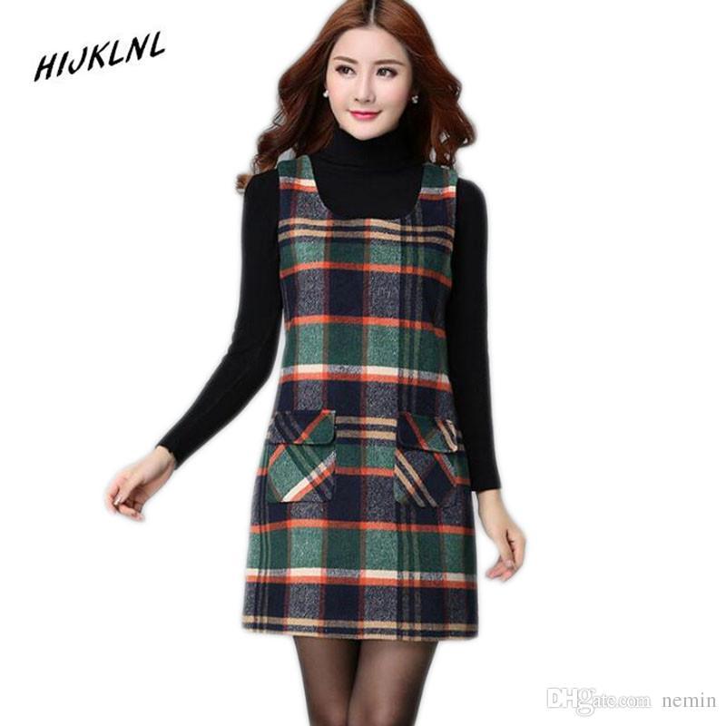 469fc46d52f5d 2018 Wholesale HIJKLNL Women'S Dresses Winter Women 'S Plaid Vest Plus Size  Dress Primer Slim Sleeveless Wool Vest Dresses For Women J From Nemin, ...