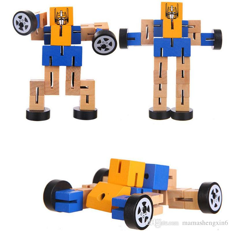 2019 New Baby Kids Wood Tangles Robot Wooden Toys Children Educational Toys Diy Assembled Model Building Robots Multi Functional Deformation Toys From