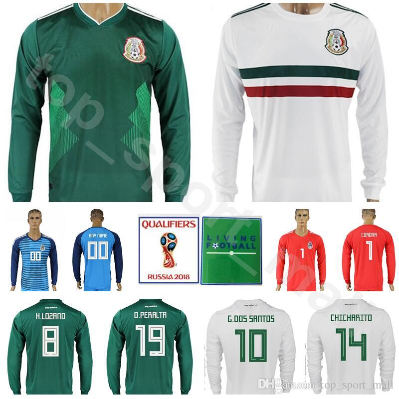 World Cup 2018 Long Sleeve Mexico Jersey Men Soccer 22 LOZANO Football Shirt  Kits Mexican 10 SANTOS 14 CHICHARITO 19 PERALTA 18 GUARDADO UK 2019 From ... 3ffd71265