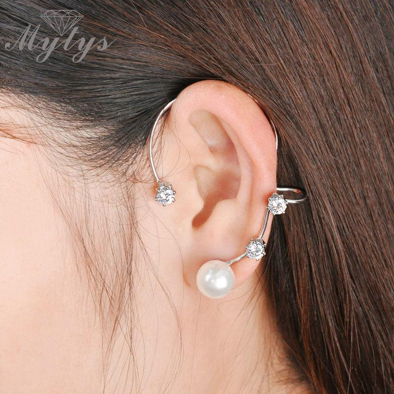 Mytys Fashion Ear Cuff Jewelry Modern Stylish Clip Earrings Pearl / Gold Color CE67 CE68 Clip Earrings