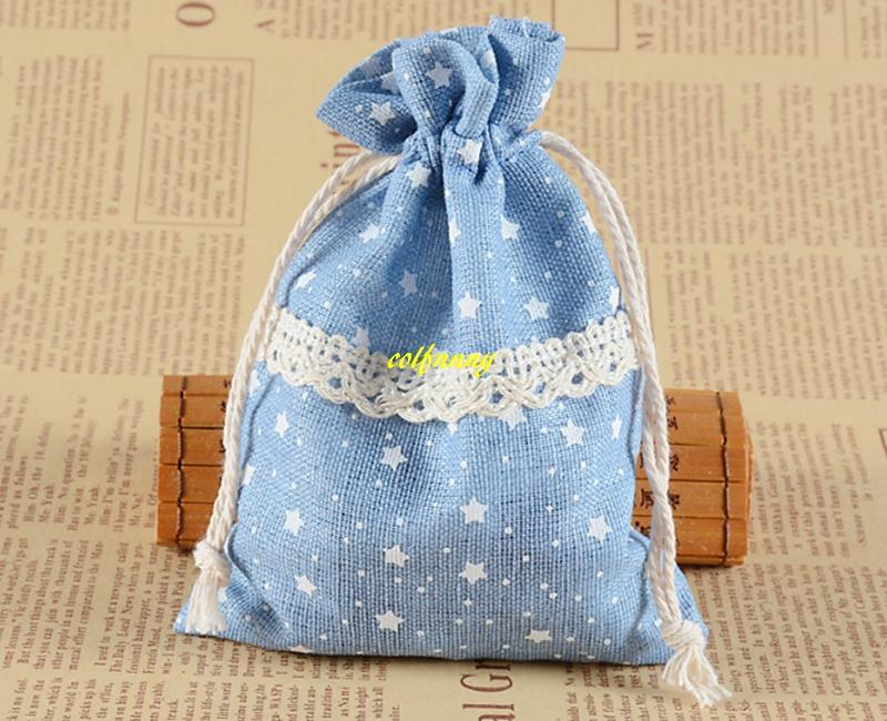Fast 10x14cm STAR Print Lace Drawstring Gift Bag Cotton Burlap Pouches Wedding Gift Bag Jewelry Packaging bags