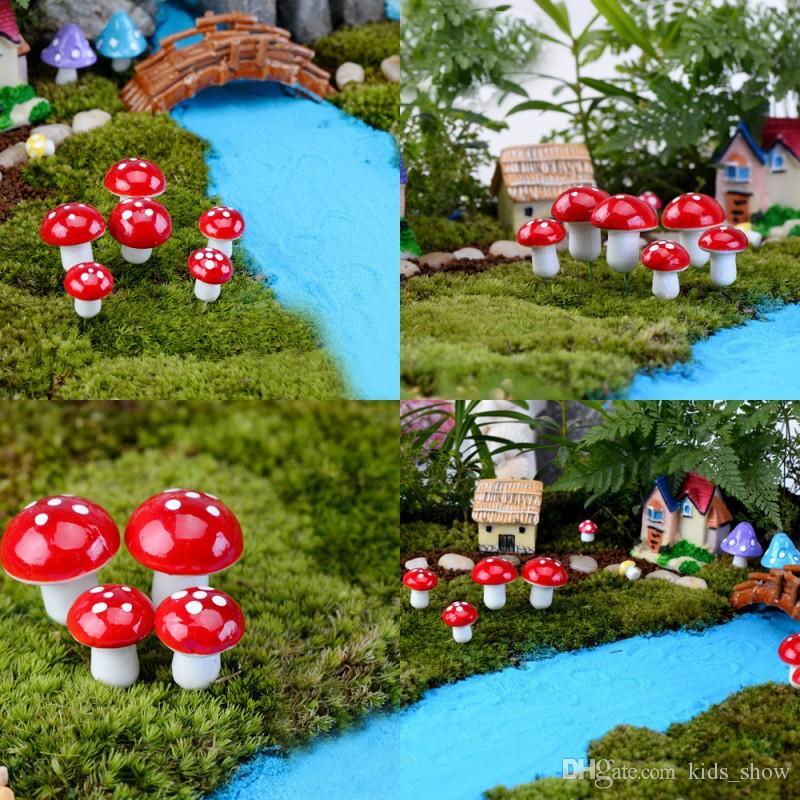 New Cute Mini Mushroom Fairy Garden Decor Miniatures Gnome Moss Terrarium  Decor Plastic Crafts Bonsai Home Decor