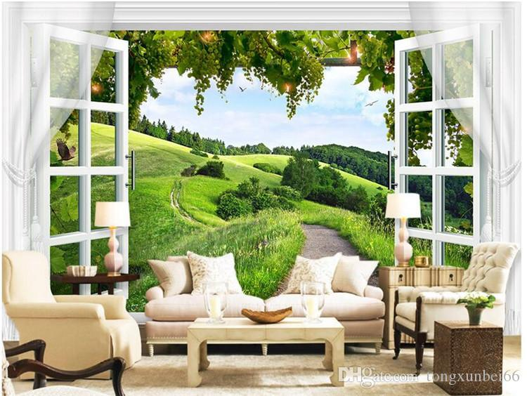3d wallpaper High-end custom mural non-woven wall sticker 3 d window grape rural painting photo 3d wall room murals wallpaper