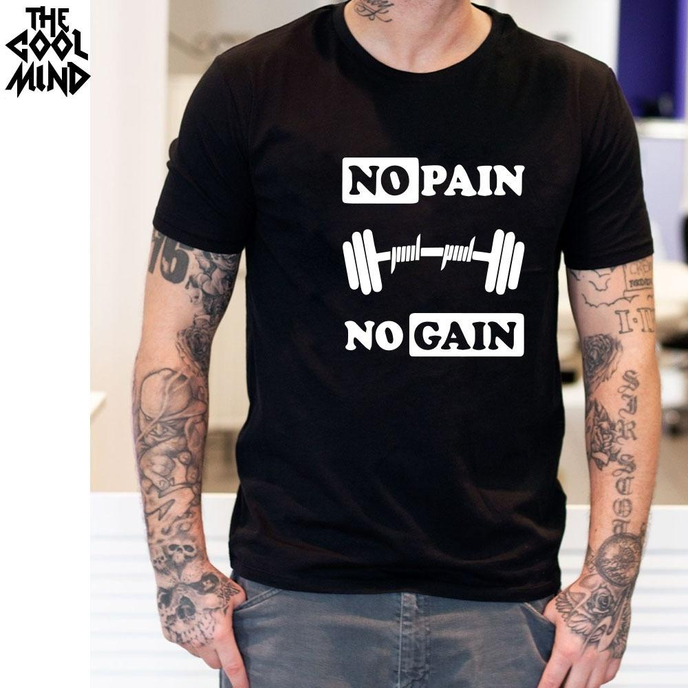THE 100% Cotton No Pain No Gain Print Men Tshirt Casual O Neck Men Muscle  Body Building T Shirt Cool Mens Tee Shirt T Shirts With Sayings Awesome T  Shirt ... b569ca7425d4