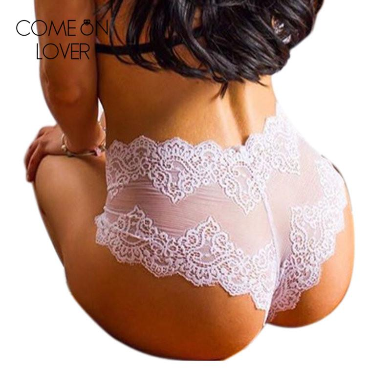 f17f089344f3 2019 Comeonlover Lace Floral Sheer Sex Panties For Women High Quality Briefs  High Waist White Black Underwear Plus Size Panty PL5144 From Baldwing, ...