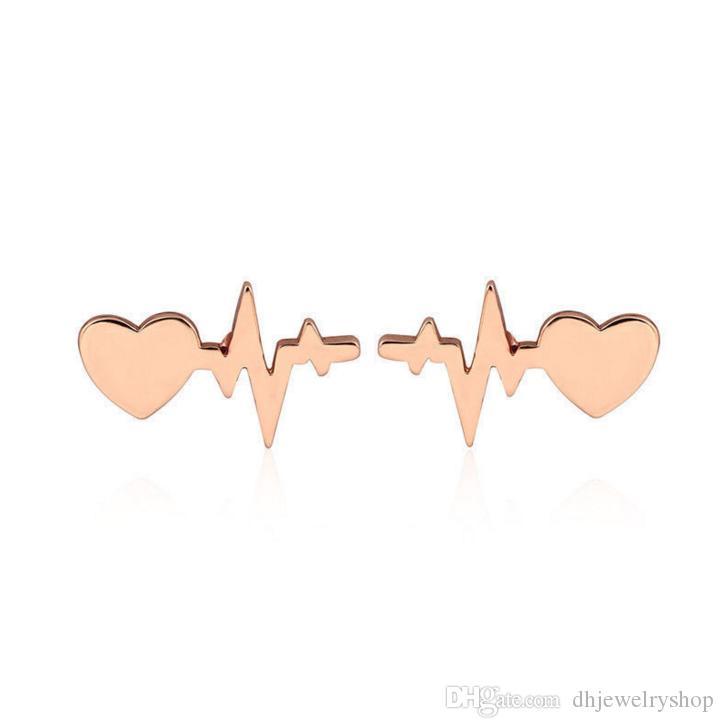 Сердце Электрокардиограмма Стад Серьги Сердце Бить Серьги Врач Медсестра Ювелирные Изделия