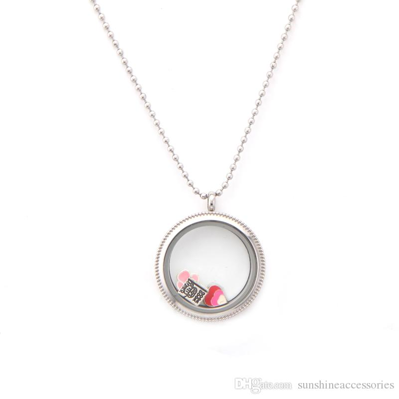 Fashionable High Quality DIY 30mm Round Plain Glass Stainless Steel Floating Locket \with
