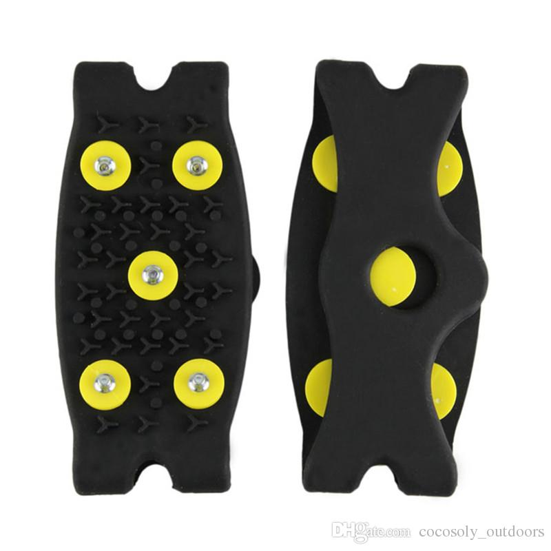 Hot Snow Ice Climbing Anti Slip Spikes Grips Crampon Cleats 5-Stud Shoes Cove