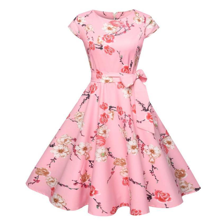 Acquista Donne Vintage Bodycon Manica Corta Casual Retro Evening Party Prom  Swing Dress Bohemian Stile Carino Abiti Da Donna Abiti A  30.4 Dal  Qinfeng10 ... 3430210d7cf