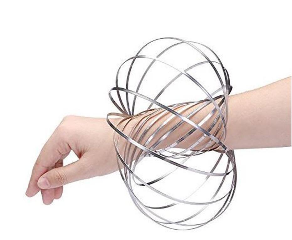 Toroflux 3D Shaped Flow Ring Original Kinetic Spring Toy Metal Finger Toys Magic Rolling Bracelet Stainless Steel with Carring Bag