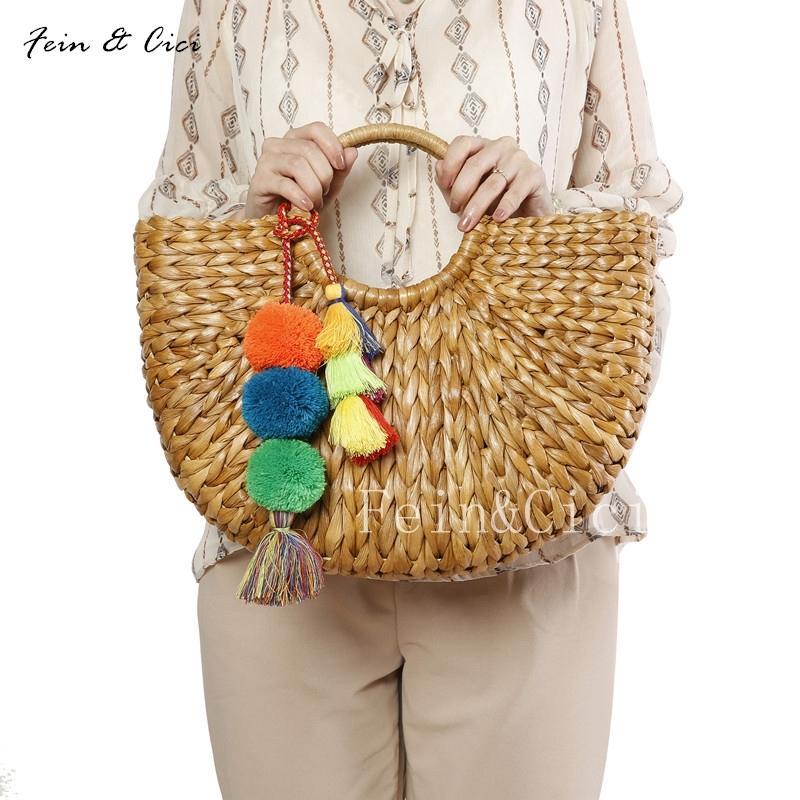 72e3fa6649 Beach Bag Wicker Straw Basket Totes Bag Bucket Large Big Summer Bags  Tassels Pom Pom Women Natural Handbag 2018 New High Quality Y18102504  Handbags ...