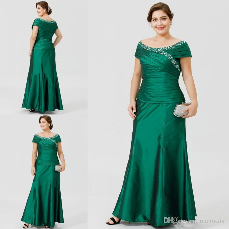 Hunter Green Cheap Plus Size Beaded Mother Of The Bride Dresses Scoop Neck  Floor Length Formal Evening Gowns Pleats Mothers Dress