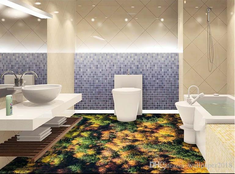Acquista 3d floor wallpaper aerea foresta soggiorno bagno 3d