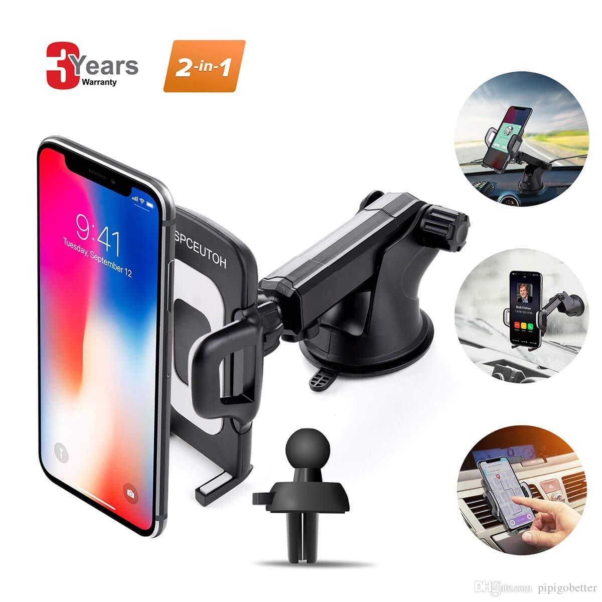 Car Phone Mount universal air vent holder for cell Phone upgrade 360  degrees soft rubber dashboard windshield for iPhone