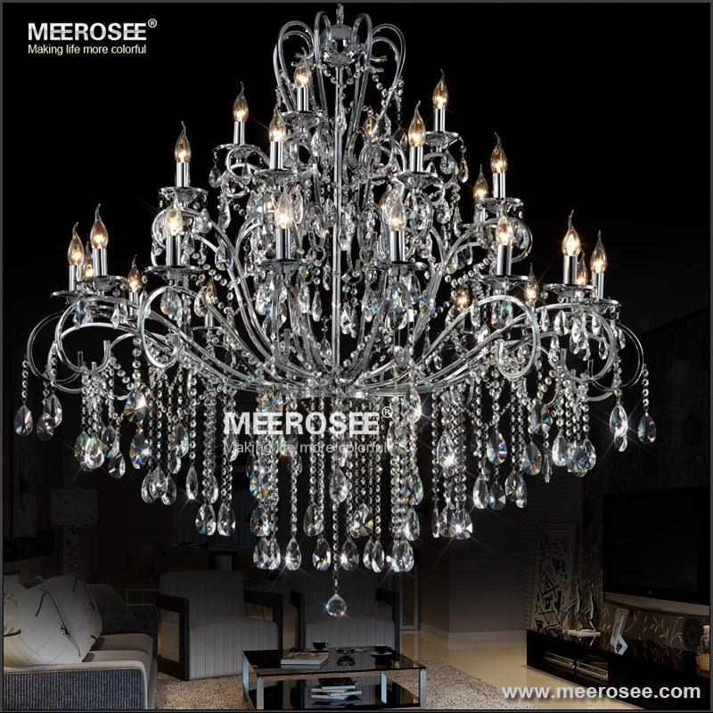 Large 28 arms wrought iron chandelier crystal light fixture chrome large 28 arms wrought iron chandelier crystal light fixture chrome lustre de sala crystal hanging lamp mde51 l28 long chandelier simple chandelier from aloadofball Gallery