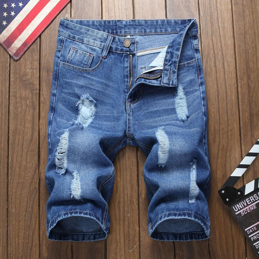 ec9ca92e15ab5 Men Hole Five-point Blue Denim Shorts Male Slim Casual Straight Pants Jeans  Knee Length Ripped Lightweight Hip Hop Softener Jeans Cheap Jeans Men Hole  Five ...