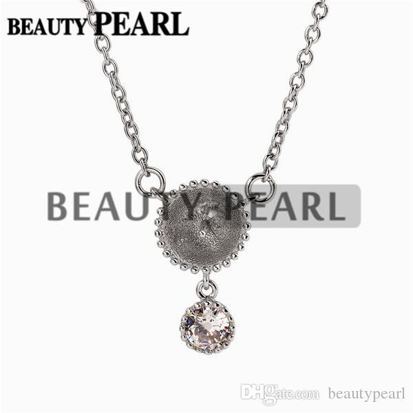 Dangle with One Zircon Pendant Necklace Blank for Pearl 925 Sterling Silver Chain Base