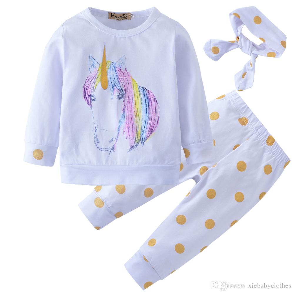New 2018 Baby Clothing Unicorn Newborn Baby Girl Kid Outfit Clothes Tops+Leggings Pants+Headband Boy girl set