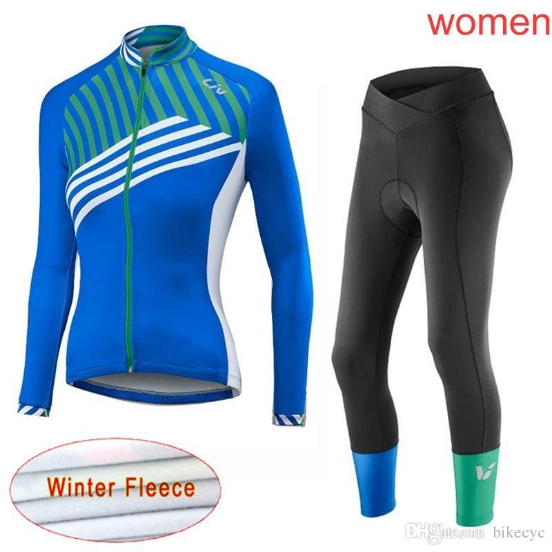 LIV Equipo Ciclismo Invierno Termal Fleece Jersey Pantalones Sets Mujeres Mantenga Warm Ropa Ciclismo MTB PRO Bicycle Ropa Bike Wear Y21040710