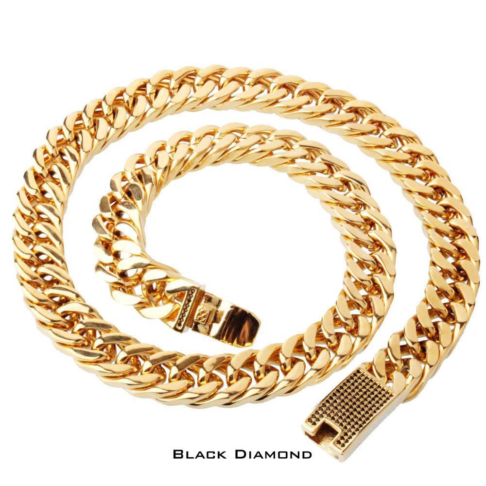 Высокое качество нержавеющей стали высокой полированной Снаряженная кубинский ссылка ожерелье мужская панк хип-хоп прохладный цепи с алмазной застежкой 60 см * 15 мм