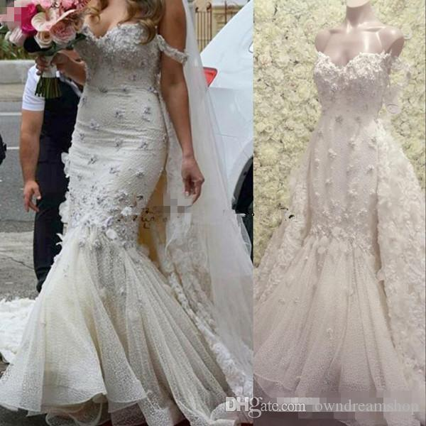 db3f172bd9 Sexy Off Shoulder Mermaid Wedding Dresses With 3D Floral Applique Beaded  Church Castle Bride Bridal Party Gown Detachable Train Custom Made  Inexpensive ...