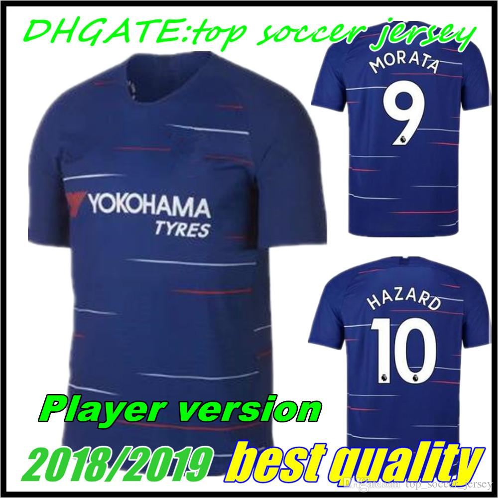 f8eb24851f9 2019 Player Version  10 HAZARD Soccer Jersey 18 19  9 MOROTA  22 WILLIAN Short  Sleeve Soccer Shirt 2019  7 KANTE  4 FABREGAS Football Uniforms From ...