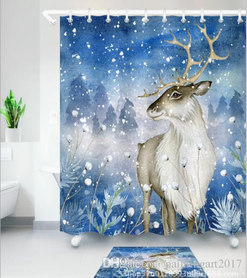 2019 Nature Animal Lover Shower Curtains Watercolor Walking Deer For Kids Bathroom Bath Curtain With Mats From Paintingart2017 1538