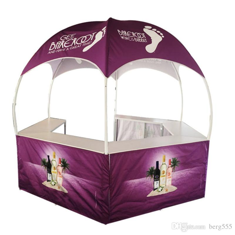New Products Collapsible Design Promotional Mall Kiosks Dome Tent for Sale with Dye-Sublimation Graphics and Portable Wheeled Carry Bag