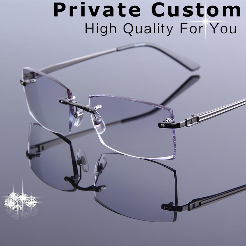 20d7570dac 2019 Men Rimless Reading Glasses Prescription Eye Glasses Fashion Male  Business Optical Myopia Hyperopia Hard Wearing Eyewear From Milknew