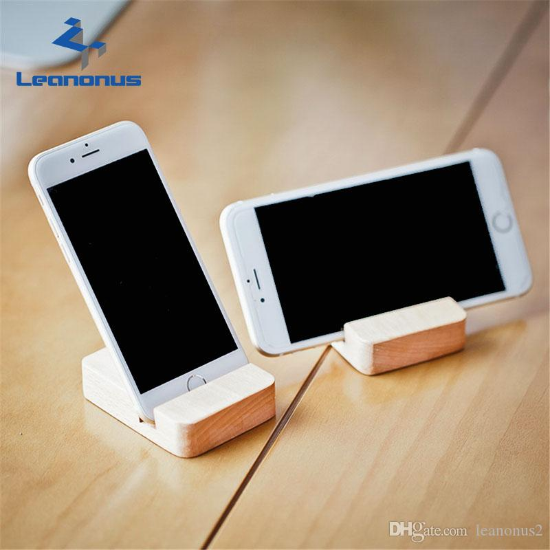 2018 Wood Grain Phone Holder Desktop Universal Non Slip Wooden Mobile Stand Desk For Iphone Ipad Samsung Tablet From Leanonus2