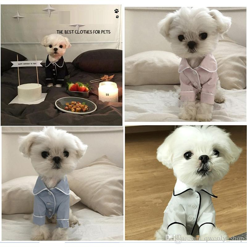 Small Dog Supplies Apparel V Secret Pet Puppy pajamas button Black White Blue Pink Clothes poodle Bichon Frise bulldog Softfeeling Shirts