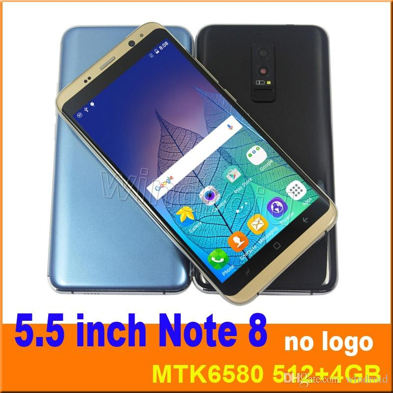 5.5 inch Note8 s9 plus Smart Mobile Phone MTK6580 Quad Core Dual SIM 3G Unlocked 512MB 4GB Smart Cell phone Android 7.0 Smart Wake DHL